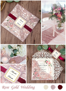 Image 5 - 100 piece Rose Gold Color Laser Cut Wedding Invitations with Gold Glitter Border and Envelope CW2519