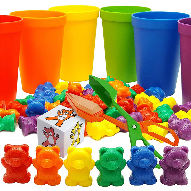 100pcs+ Rainbow Sensory Toys Counting Bears Matching Sorting Cups Baby Kids Games Learning Preschool Educational Montessori Toys(China)