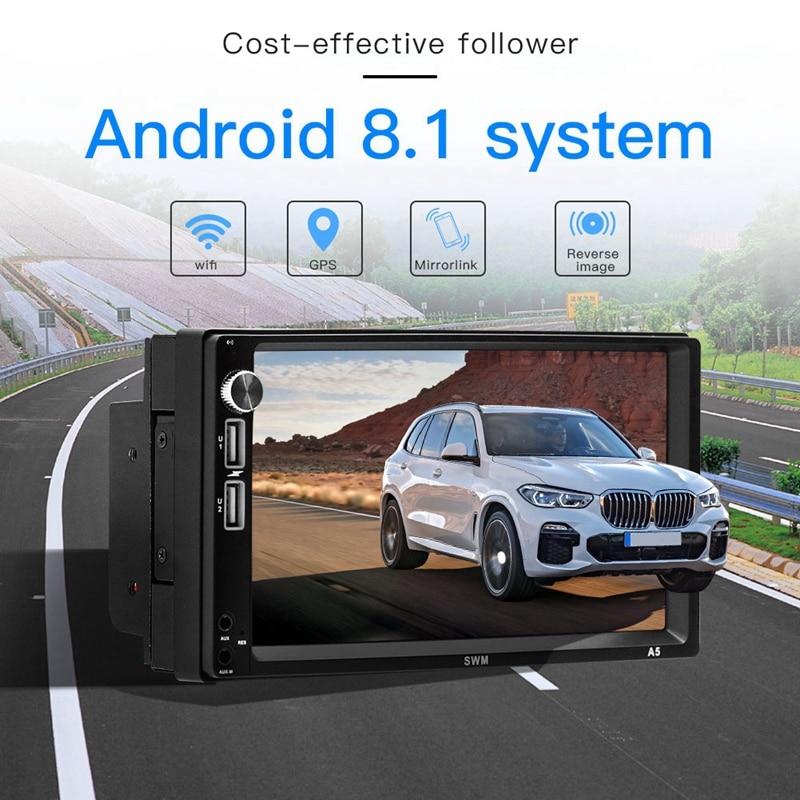 7 pouces Android 8.1 lecteur de voiture 2Din MP5 GPS récepteur stéréo enregistreur de conduite navigateur Fm Radio Wifi Bluetooth 4.0 unité de tête A5