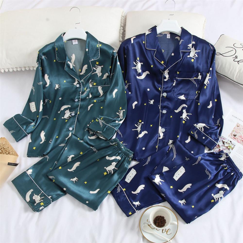 FZSLCYIYI Couple Spring Pajama Set Long Sleeve Plus Size 3XL Pajamas Sets Silk Satin Pijama Sleepwear Pyjamas Nightwear Homewear