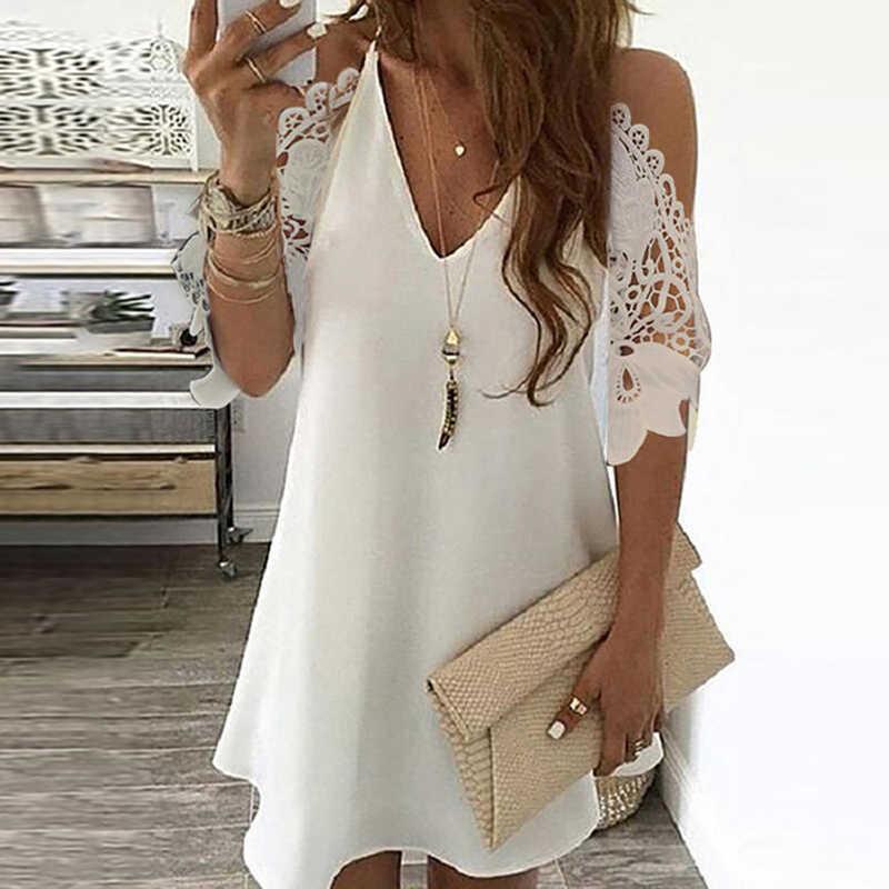 오프 어깨 수 놓은 레이스 패치 워크 미니 드레스 여성 브이 넥 꽃 프린트 여름 드레스 우아한 짧은 소매 a 라인 섹시한 드레스