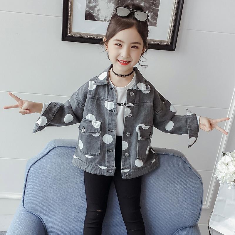 2020 Autumn New Style Girls Polka Dot Jeans Coat Korean-style Children Short Jacket Fashion