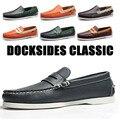 Мужская обувь для вождения из натуральной кожи; Классические водонепроницаемые Мокасины без застежки; Фирменный дизайн; Лоферы на плоской ...
