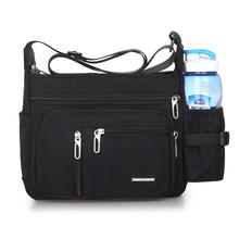 Męskie torby biznesowe Oxford wielowarstwowe torby Crossbody Retro wodoodporne torebki torby listonoszki do wypoczynku opakowanie tanie tanio CN (pochodzenie) Skórzane teczki Stałe Otwór na wyjście Kieszonka na telefo Wewnętrzna kieszeń na zamek błyskawiczny