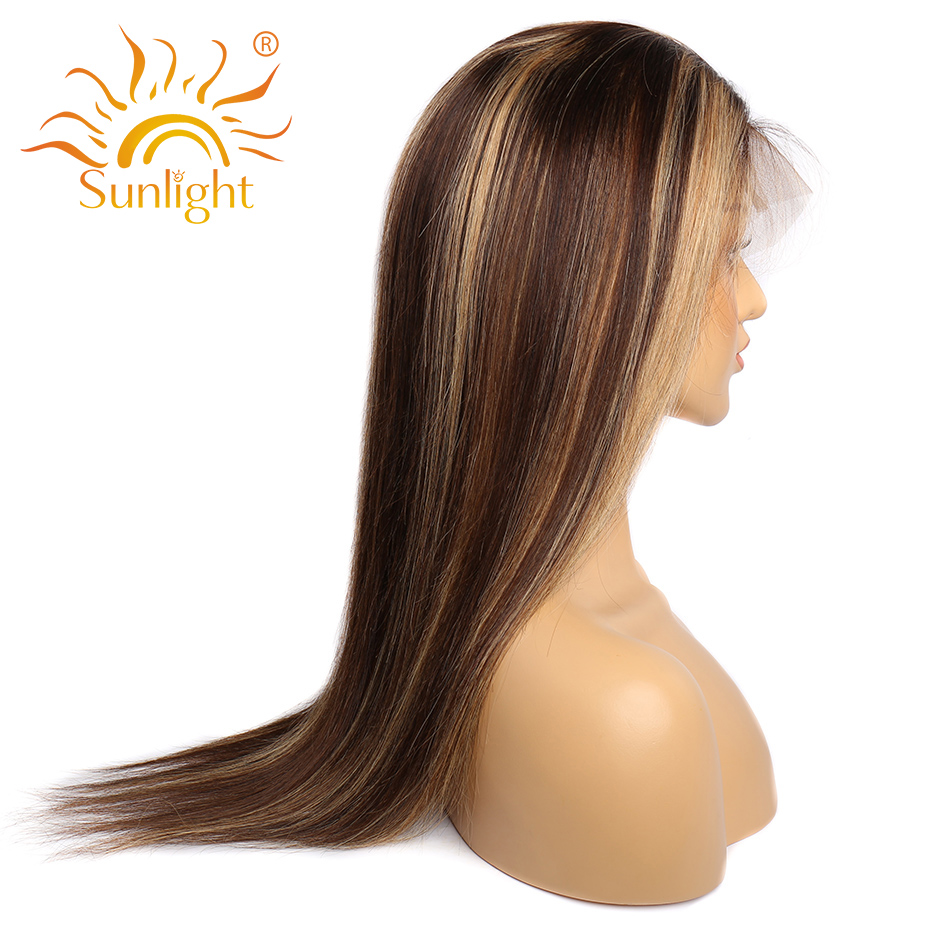 Transparent Lace Front  Wig Straight Highlight Honey Blonde Piano Color 13X6x1 Pre Plucked  Hair Wigs 150%Density 4