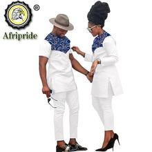 זוג האפריקאי בגדי נשים חליפות + גברים בגדי סט דאשיקי חולצות אנקרה מכנסיים הדפסת תלבושות שבטי חליפת AFRIPRIDE S20C001סטים לנשים