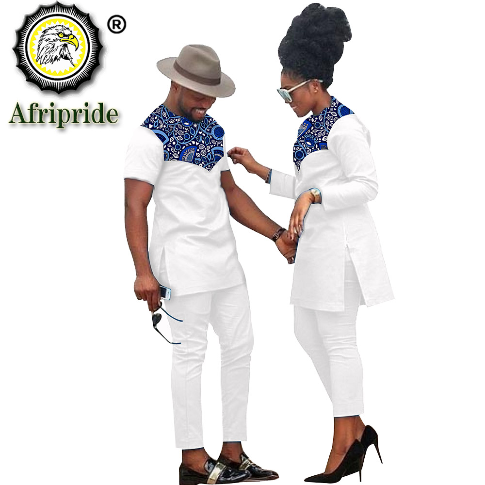 African Couple Clothing Women Suits + Men Clothing Set Dashiki Shirts Ankara Pants Print Outfits Tribal Suit AFRIPRIDE S20C001