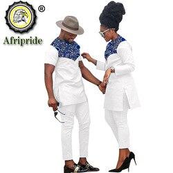 Afrikanische Paar Kleidung Frauen Anzüge + Männer Kleidung Set Dashiki Shirts Ankara Hosen Drucken Outfits Tribal Anzug AFRIPRIDE S20C001