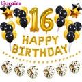 Воздушный шар из фольги с цифрами 16, декор для вечеринки в честь Дня Рождения, милая 16-летняя девочка и мальчик, золотистый, черный, домашний ...