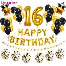 Número 16 folha balão feliz aniversário decorações da festa doce 16 anos de idade menino menina 16th ouro preto decoração para casa aniversário
