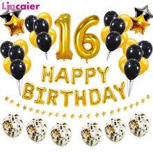 Número 16 balão de folha feliz aniversário decorações festa doce 16th anos velho menino menina ouro preto decoração 61 61st aniversário