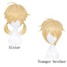 Peluca de cabello sintético amarillo rubio corto de Anime Kagamine Rin / Kagamine Len