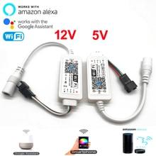 DC 5V 12 24V קסם בית LED WiFi בקר iOS אנדרואיד שליטה חכם Alexa גוגל עוזר WS2811 SK6812 WS2812B LED רצועת