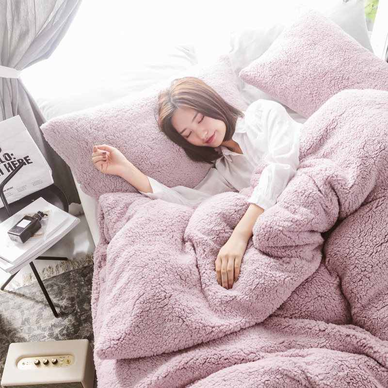 Solid Lamb Cashmere bedding set 2019 New thicken Flannel Fleece bed linens Velvet duvet cover set sandred bed cover pillowcase