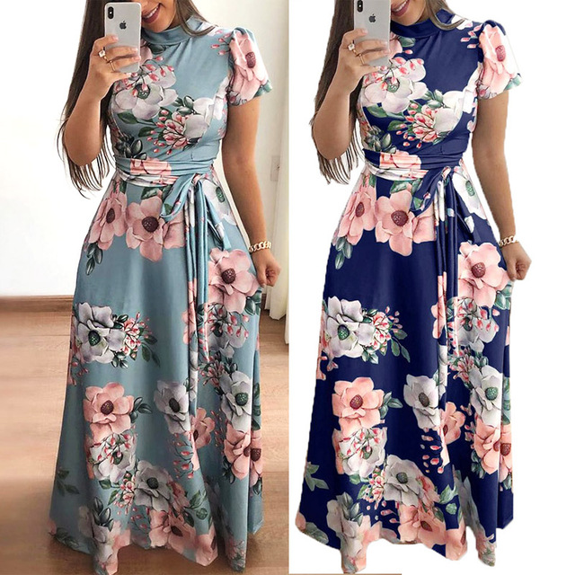 Plus size women's summer long super long dress 2020 casual long sleeve flower print dress casual high collar bandage Vestidos 5
