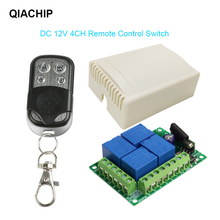 QIACHIP Interruptor de Control remoto inalámbrico Universal, 433Mhz, DC12V, 4CH, módulo receptor por relé, transmisor, bricolaje, motor LED, puerta de garaje