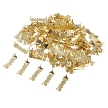 100 Pieces Home Office Wall Hanging Picture Photo Frame Sawtooth Hooks Hanger Fasteners Gold 25x10mm