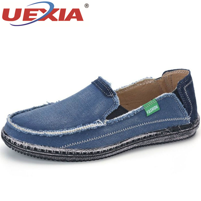 UEXIA New Fashion Summer Casual Men Canvas Shoes Breathable Flats Slip On Brand Fashion Jeans Canvas Lazy Driving Shoes Footwear