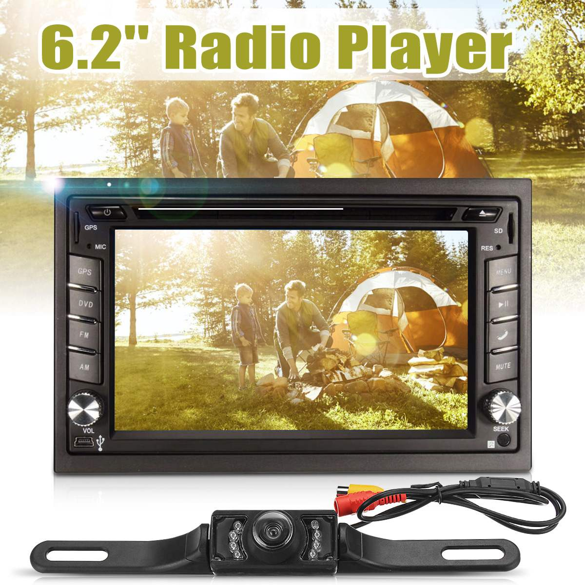 <font><b>6.2</b></font> <font><b>inch</b></font> Universal Car Stereo DVD Player 1080P HD <font><b>2DIN</b></font> bluetooth for iPod MP3 Rear Camera <font><b>GPS</b></font> Navigation North America Map image