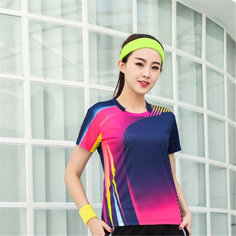 Быстросохнущая, впитывающая пот и дышащая рубашка для бадминтона, топ для соревнований, тренировочный костюм для бега, мужской и женский короткий рукав - Цвет: 1813Bfemale3