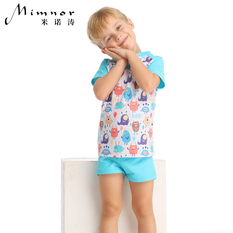 Yi Run New Style CHILDREN'S Cartoon Swimwear Split Swimming Suit Short Sleeve Shorts Sun-resistant Breathable Quick Drying Cloth