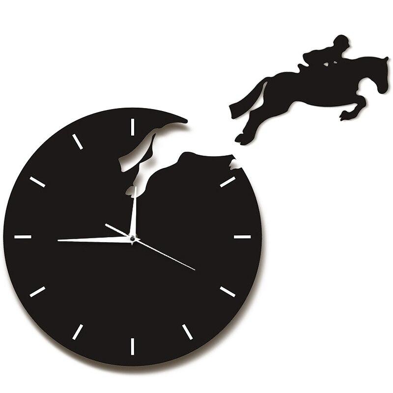 Art Decor Horseman Jumping Wall Watch Rider On Horseback Jumping Horse Clocks Design 3D Wall Clock Horse Riding