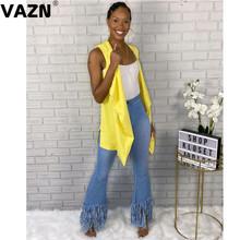 VAZN 2020 Hot High-end Sexy eleganckie kombinezony młoda prosta jednolita moda wysokiej talii kobiet Slim Denim długie spodnie dżinsowe Flare tanie tanio Poliester spandex Pełnej długości Osób w wieku 18-35 lat JEANS WOMEN Sexy Club Plaid Wysoka Zipper fly Spodnie pochodni