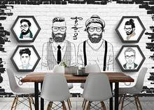 Custom 3D mural wallpaper European and American hand-painted trend barber shop background wall(China)