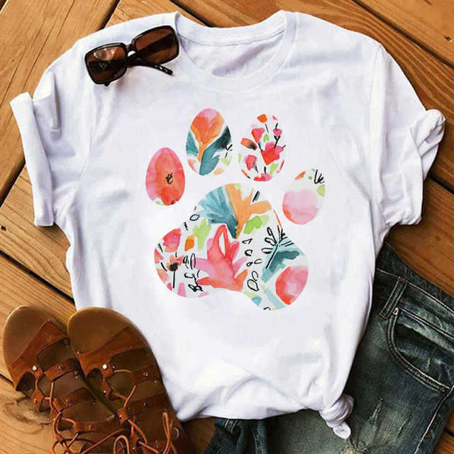 Women's Colorful Puppy Paw T-Shirts 5