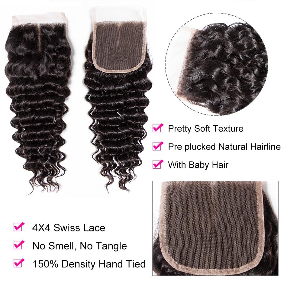 H02903a6559e04f55a49b7414b8cc2cafd Tinashe Deep Wave Bundles With Closure 5x5 6x6 Lace Closure And Bundles Remy Brazilian Human Hair Weave 3 Bundles With Closure