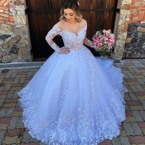 Image 1 - Julia Kui Off White Skin Tulle Of Scoop Neckline Ball Gown Wedding Dress With Long Sleeve Princess Wedding Gown