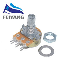 100PCS WH148 3pin B1K B2K B5K B10K B20K B50K B100K B250K B500K B1M Linear Potentiometer 15mm Shaft With Nuts And Washers
