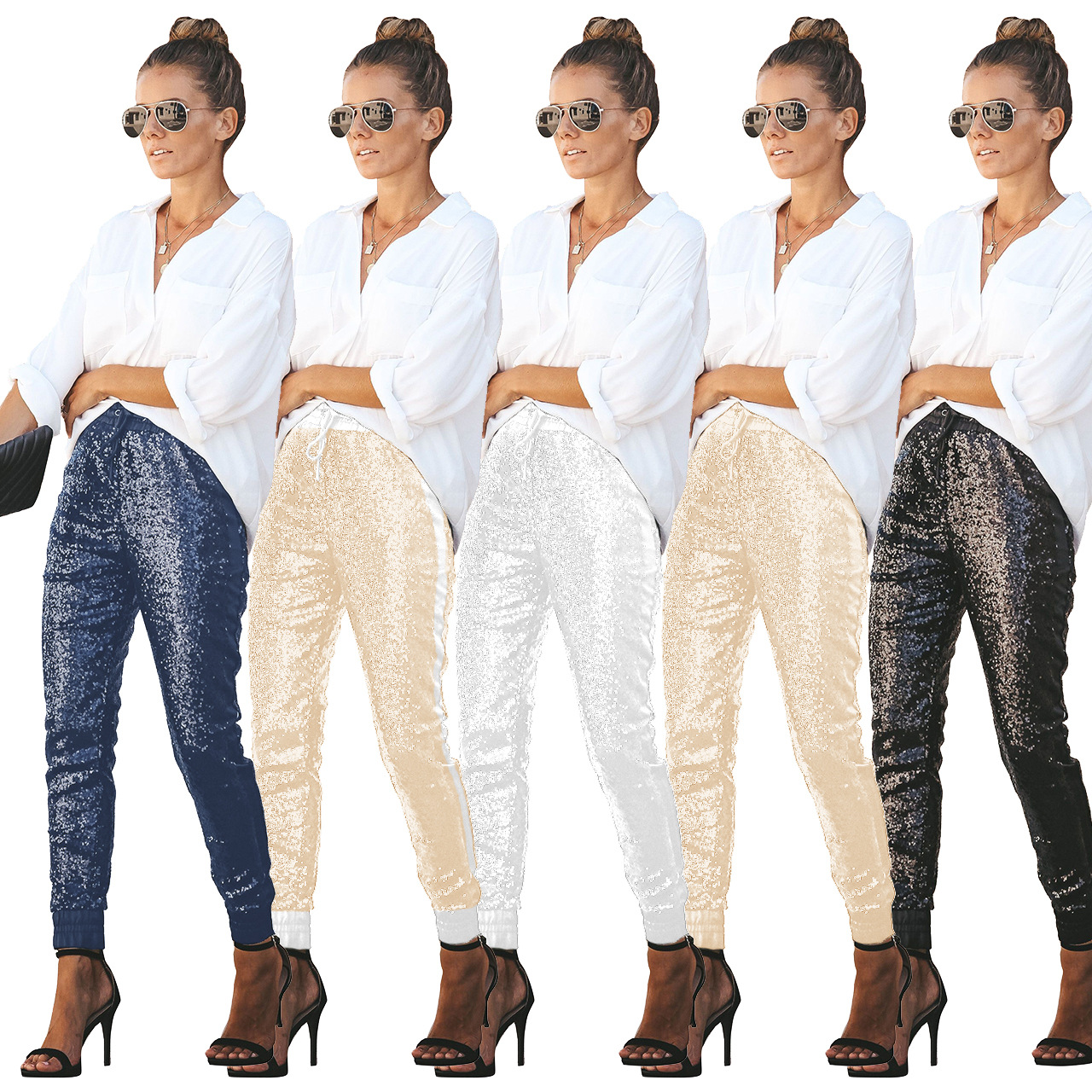 High Waist Pants Elegant Sequin Leather Patchwork Pants Casual Streetwear Women Vintage Trousers Plus Size Black