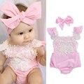 Модный комплект из 2 предметов, Одежда для новорожденных и маленьких девочек, комбинезон без рукавов розовый кружевной Цветочный комбинезо...