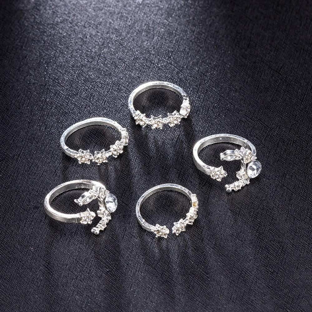 5 шт./компл. 2019 новые модные женские богемные кольца кристалл серебро Астра штабелируемые блестящие кольца винтажное украшение Boho