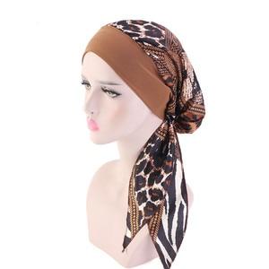 Image 5 - Women Printed Silky Turban Muslim Pre Tied Hijabs Long Tail Bow Head Scarf Ready To Wear Wide Band Elastic Bandana Headwear