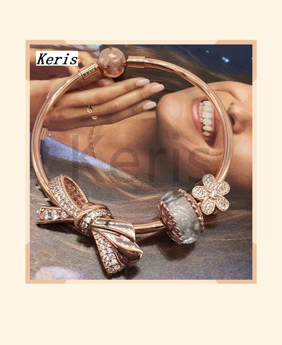 High Quality Reproduction 1:1 100% Silver Rose Gold Bow Bead String Bracelet Free Delivery