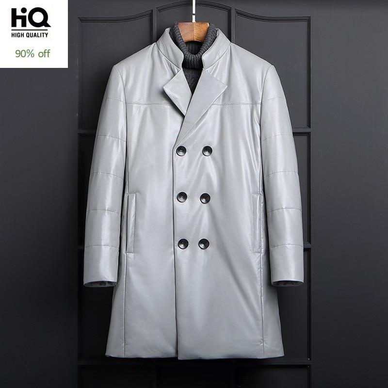 Brand Genuine Leather Down Coat Men Winter Double Breasted Warm Thicken Slim Outerwear Fashion Plus Size Sheepskin Down Jacket