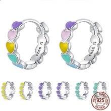 Pendientes de plata de ley 925 con argolla de cordoncillo para mujeres, pendientes de Color liso con argolla para los ojos, 2020