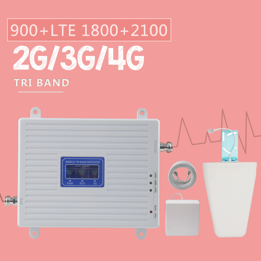 70dB 2G 3G 4G Tri Band Mobile Signal Repeater GSM 900 DCS 1800 WCDMA 2100 Cellphone Cellular Signal Booster Amplifier 3G 4G LTE-in Signal Boosters from Cellphones & Telecommunications