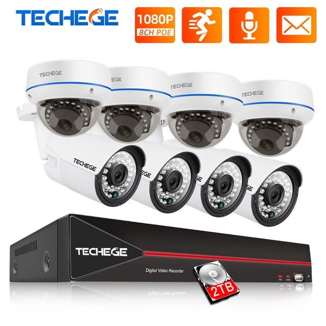 Techege 8CH 1080P POE NVR 키트 2MP 오디오 PoE IP 카메라 H.265 CCTV 시스템 실외 방수 이메일 경고 비디오 감시 키트
