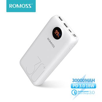 30000mAh 26800mAh ROMOSS SW30 Pro przenośny Power Bank ładowarka bateria zewnętrzna PD szybkie ładowanie wyświetlacz LED do telefonów Tablet tanie i dobre opinie Bateria litowo-polimerowa Wsparcie szybkie ładowanie Cyfrowy wyświetlacz Podwójny USB Typ C Dla Laptop Do tabletu Do smartfona