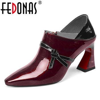 FEDONAS Women Elegant Butterfly-knot Genuine Leather Pumps Dancing Square Toe Zipper Prom Shoes Woman 2020 Big Size Female Shoes