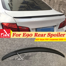 E90 FRP Unpainted Black Rear Trunk Boot Lip Wing P Style For BMW 3 Series 323i 325i 328i 330i 335i Trunk Spoiler Wing 2005-2011 black frp auto rear tail trunk lid boot spoiler lip wing for bmw e90 sedan 4 door 05 08 m3 320i 323i 325i 330i 335i csl style
