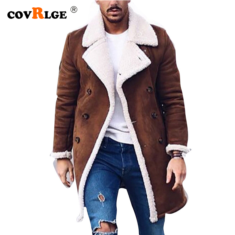 Covrlge Men's Jackets And Coats Winter Thicken Warm Jacket Vintage Outwear Windproof Jacket Men Fleece Men Parkas Clothes MWD002