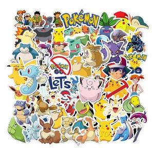 Image 2 - 50 Stuks Takara Tomy Pokemons Stickers Voor Bagage Skateboard Telefoon Laptop Moto Fiets Muur Gitaar Sticker Diy Waterdichte Sticker