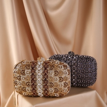 Purse Clutch-Bag Crossbody-Bags Wedding-Handbags Rhinestone Crystal Black Women Luxury