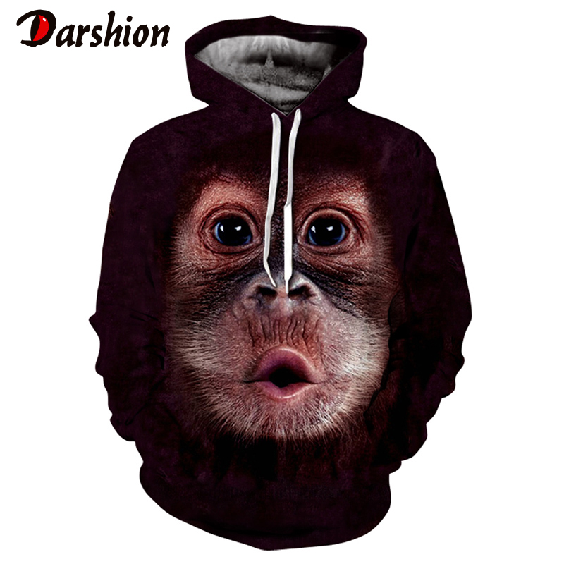 Monkey Printed Hoodies Men 3d Hoodies Brand Sweatshirts Quality Pullover Tracksuits Animal Orangutan Printing Hooded Streetwear
