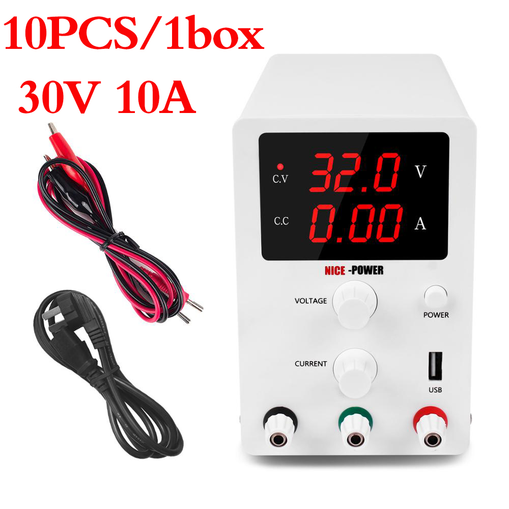 10 pièces/1 boîte numérique laboratoire réglable USB alimentation 30V 10A laboratoire banc Source universelle commutation Fonte De Bancada commutateur