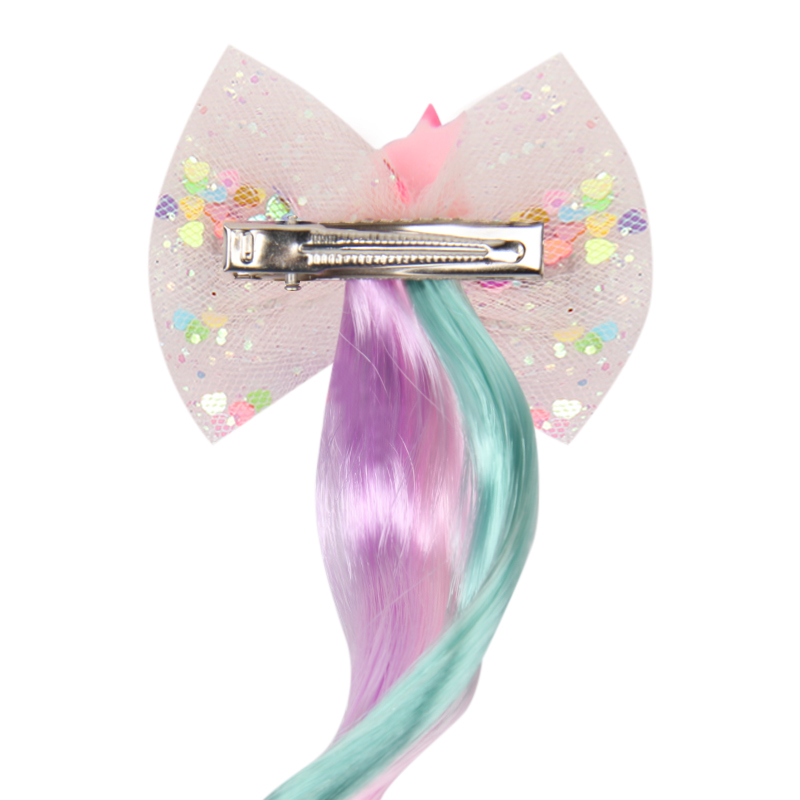Unicorn Hair Bows for Girls Sequin Net Yarn Hair Clips with Long Wig Hairgrips Princess Party Kids Hair Accessories